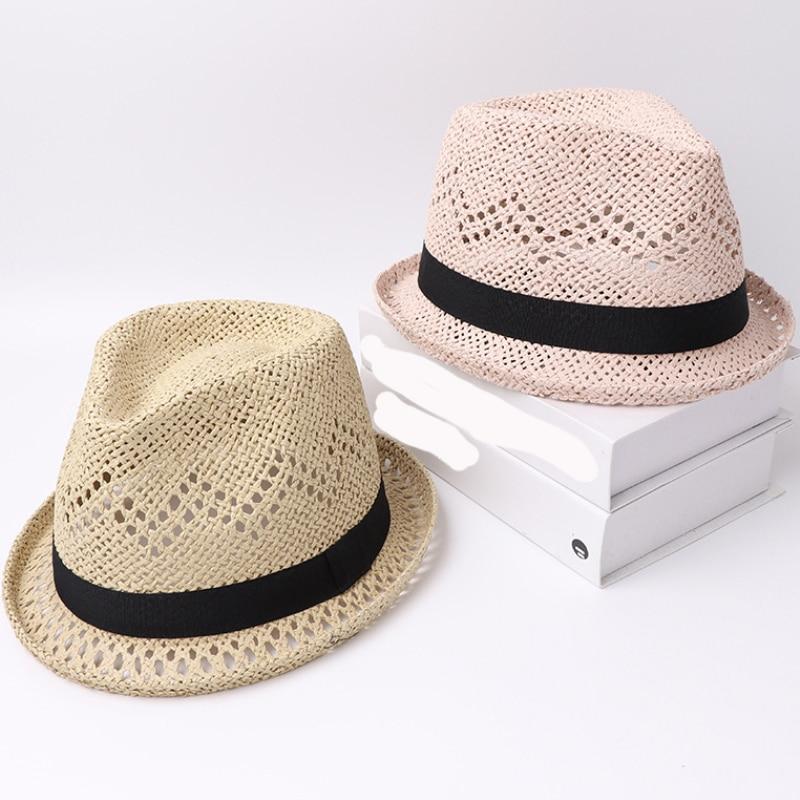 HT3120 Straw Hat Men Women Summer Sun Hat New Fashion Breathable Beach Cap Male Female Trilby Fedora Hat Black Band Beach Hat