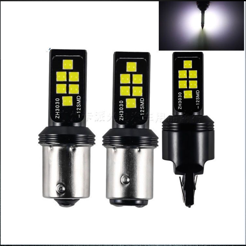 Led Car T20 7443 7440 W21W Turn Lamp 1156 BA15S P21W LED BAY15D 3030 <font><b>12</b></font> <font><b>Smd</b></font> Brake Light Reverse Parking Lamps Day Lights image
