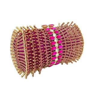 Image 2 - Boutique De FGG Hot Pink Fuchsia diamentowe cyrkonie drążą kobiety kryształowe torby torebka wieczorowa torebka koktajlowa dla nowożeńców torebka