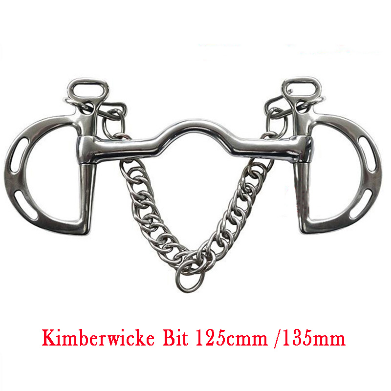 Equestrian Products Stainless Steel Horse Kimberwicke Bit Low Port Mouth Slotted Cheeks With Hooks & Curb Chain