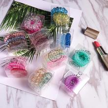 Hair Accessories 3Pcs Premium Elastic Scrunchies Girls Women Spiral Ties Rope With Beautiful Gift Box Telephone Coil