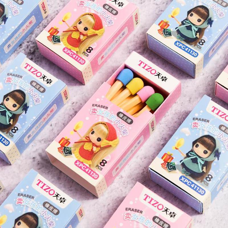 8 Pcs/pack Kawaii Girls Matches Box Colored Rubber Pencil Erasers For Kids Students Gift School Office Stationery Supplies