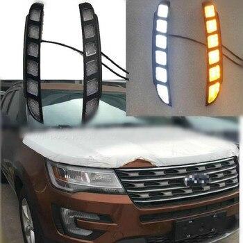 цена на Car Led Drl For Ford Explorer 2016 2017 2018 Daytime Running light Turn Drl Front Bumper Driving Fog Lamp Blink Flashing Dayligh