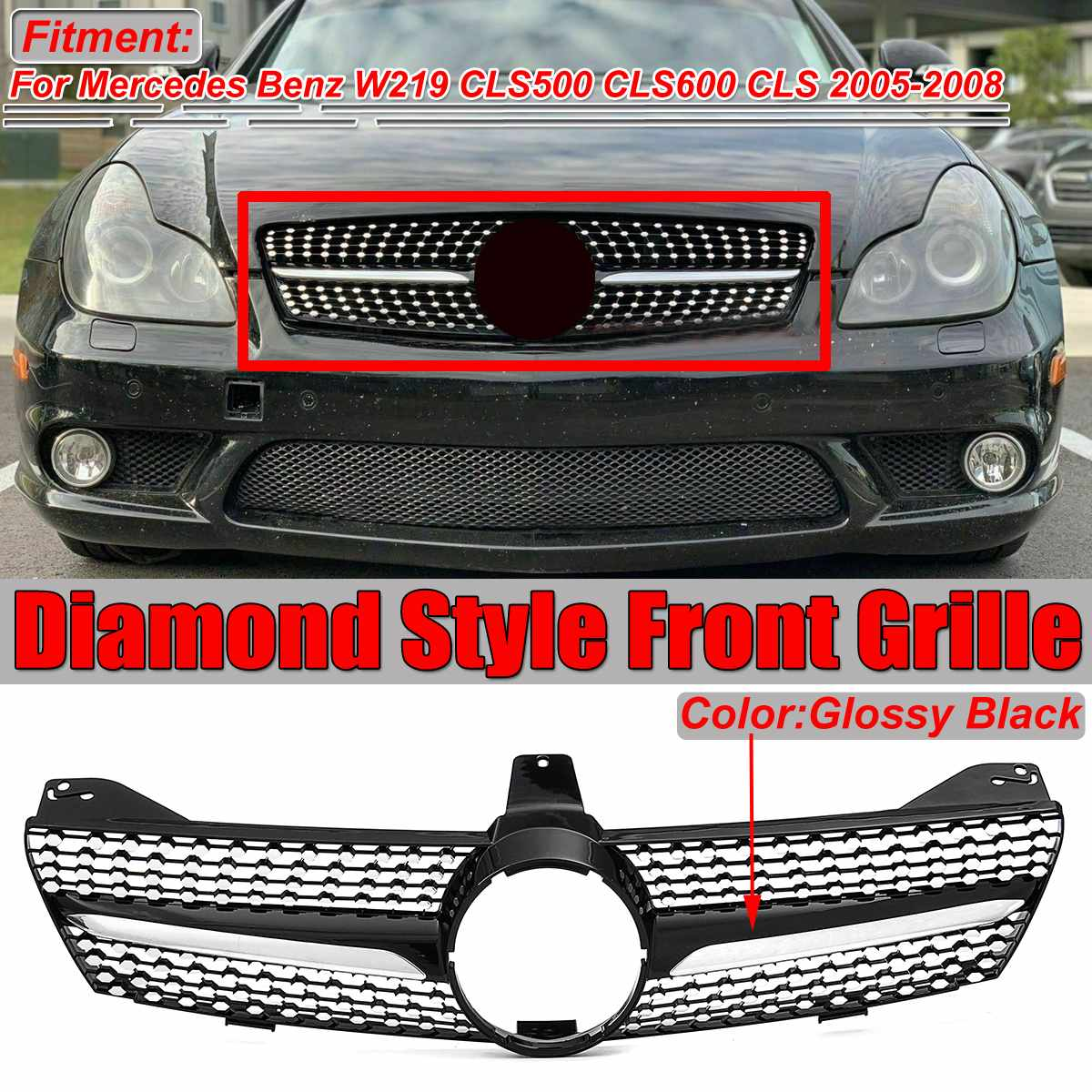 High Quality <font><b>W219</b></font> Diamond <font><b>Grill</b></font> Car Front Bumper Grille <font><b>Grill</b></font> For Mercedes For Benz <font><b>W219</b></font> CLS500 CLS600 CLS 2005 2006 2007 2008 image