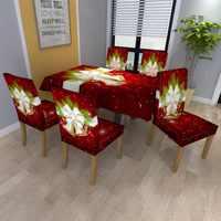 Capa de cadeira de pano de mesa de natal rena impresso elastano estiramento elástico slipcovers capas de cadeira para sala de jantar festa cozinha