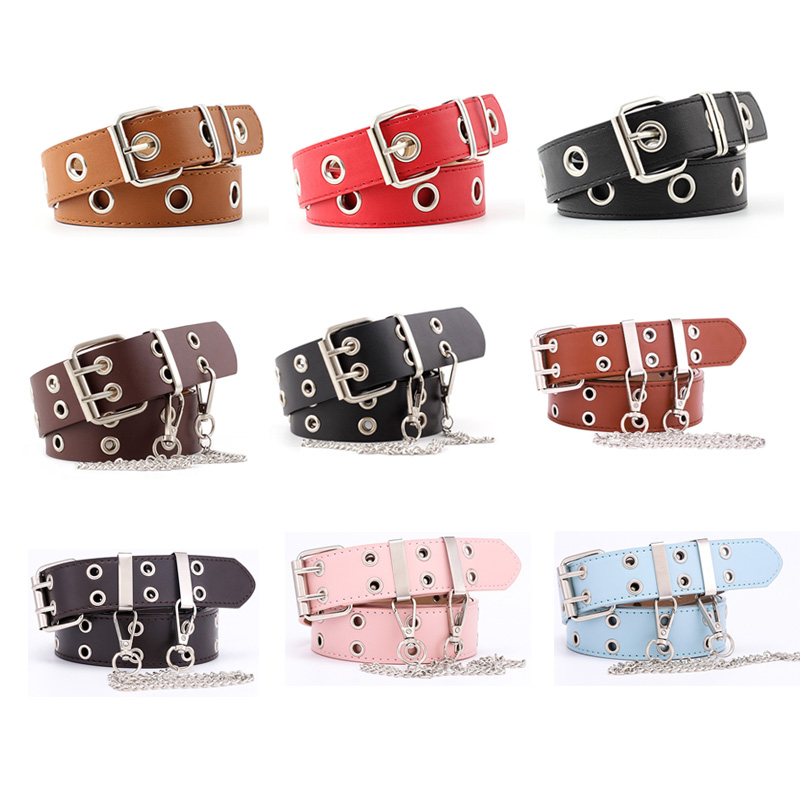 Women Punk Chain Leather Belt Adjustable Double/Single Row Hole Pin Buckle Waist Belts Jeans Cinturones Decorative Belt