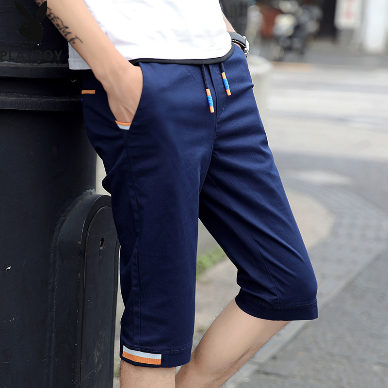 Separate Station PLAYBOY Fashion Men Korean-style Elasticity Casual Shorts Pure Cotton Shorts