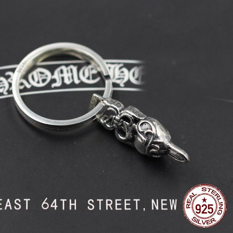 S925 argent Sterling hommes porte-clés personnalisé classique punk vent hip-hop dominateur dague anneau forme envoyer amant cadeau bijoux