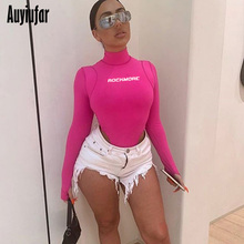 Auyiufar Pink Bodysuit Women Long Sleeve Letter Print Rompers Fashion Streetwear Fitness Short Jumpsuit Female Body New Overalls