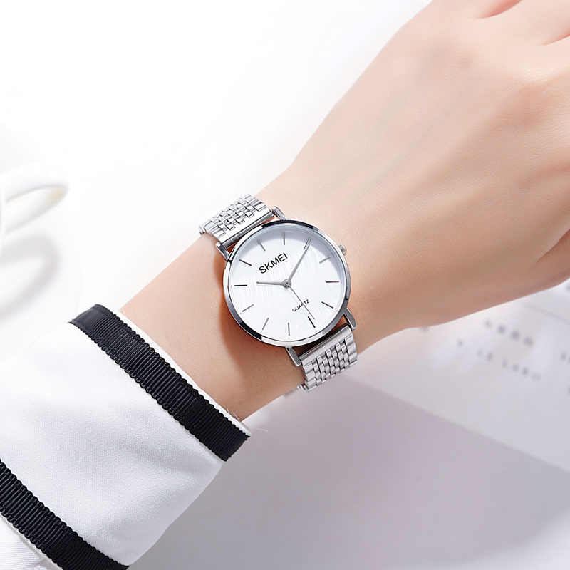 2019 Simple SKMEI Women Quartz Watches Luxury Stainless Steel Strap Female Wristwatches Ladies Girl Clock Montre Femme 1567