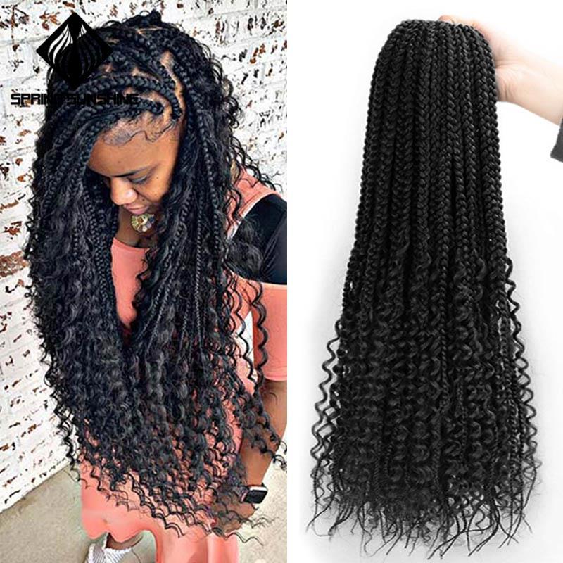 Весна солнце грязная богиня коробка косички волосы синтетические вязанные волосы богемные волосы с завитками 24 дюйма Бохо плетеные волосы