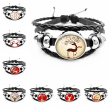 2019 Hot Sale of The Latest Christmas Deer Series Glass Cabochon Fashion Leather Mens Bracelet Jewelry Gift