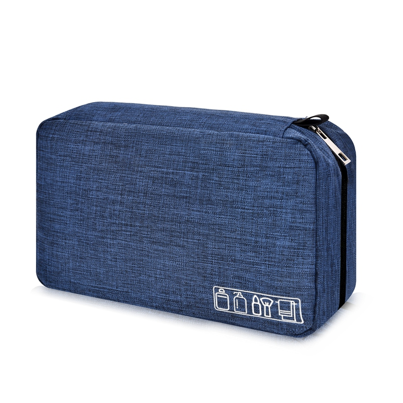 Dark Blue Mens Toiletry Bag Hanging Travel Shaving Kit Organizer Bag Perfect Travel Accessory