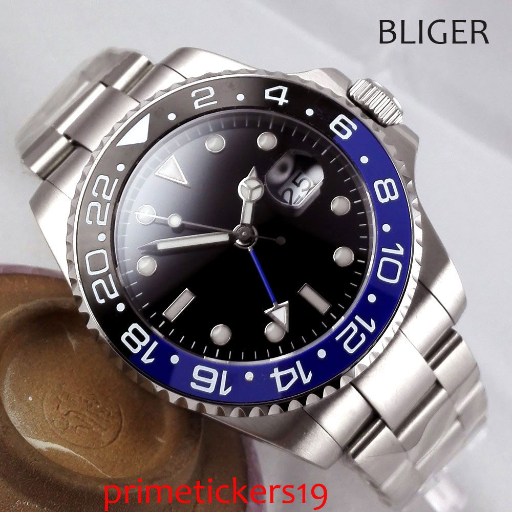40mm black sterile dial date GMT sapphire glass blue and black ceramic bezel automatic mens watch PA298AU