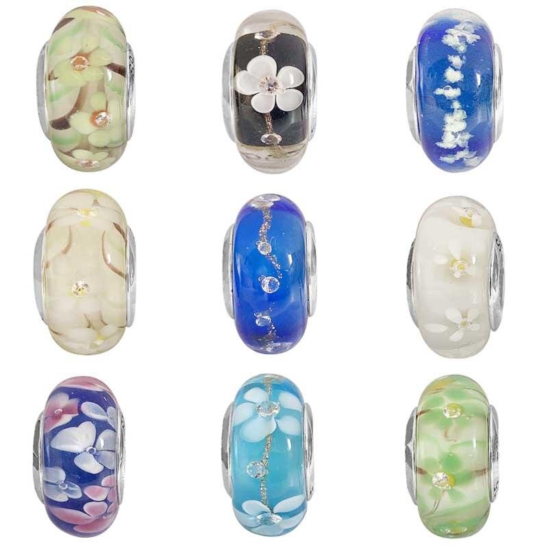 5pcs 13mm Murano Lamwork Glass Flower European Charm Big Hole Beads Blue /& White