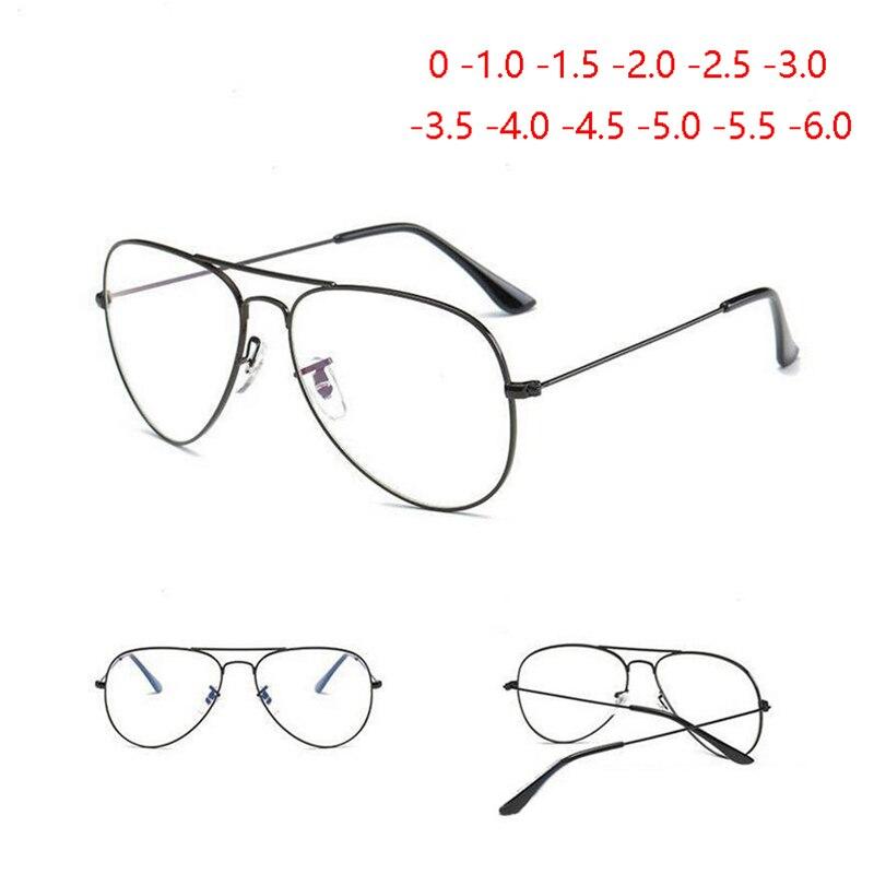 Feminino masculino miopia óculos de prescrição óptica anti luz azul piloto óculos de visão curta óculos de visão-1.0 a-6.0