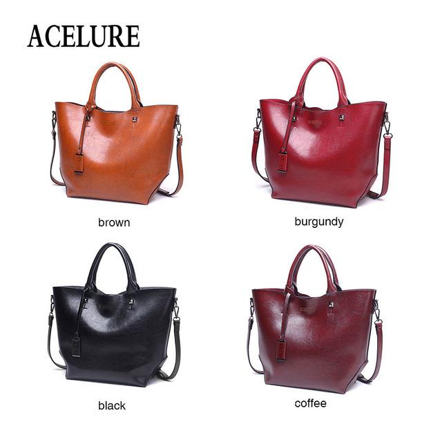 ACELURE Women Bucket Bag Oil Wax Women Leather Handbags Big Tote Famous Brands High Capacity Female Shoulder Bag Crossbody Bag
