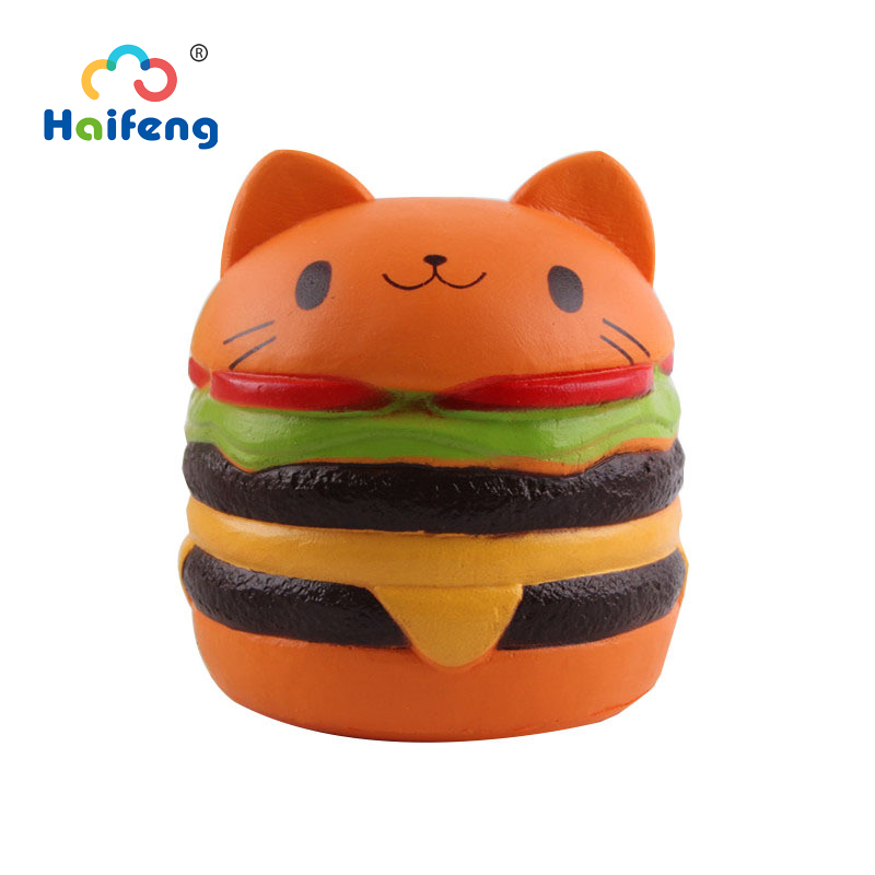 Squishyy Cat Toy Bread Food Doll Miniature Food Hamburger  Slow Rising Soft Squeeze Relieve Stress Girl Birthday Gift
