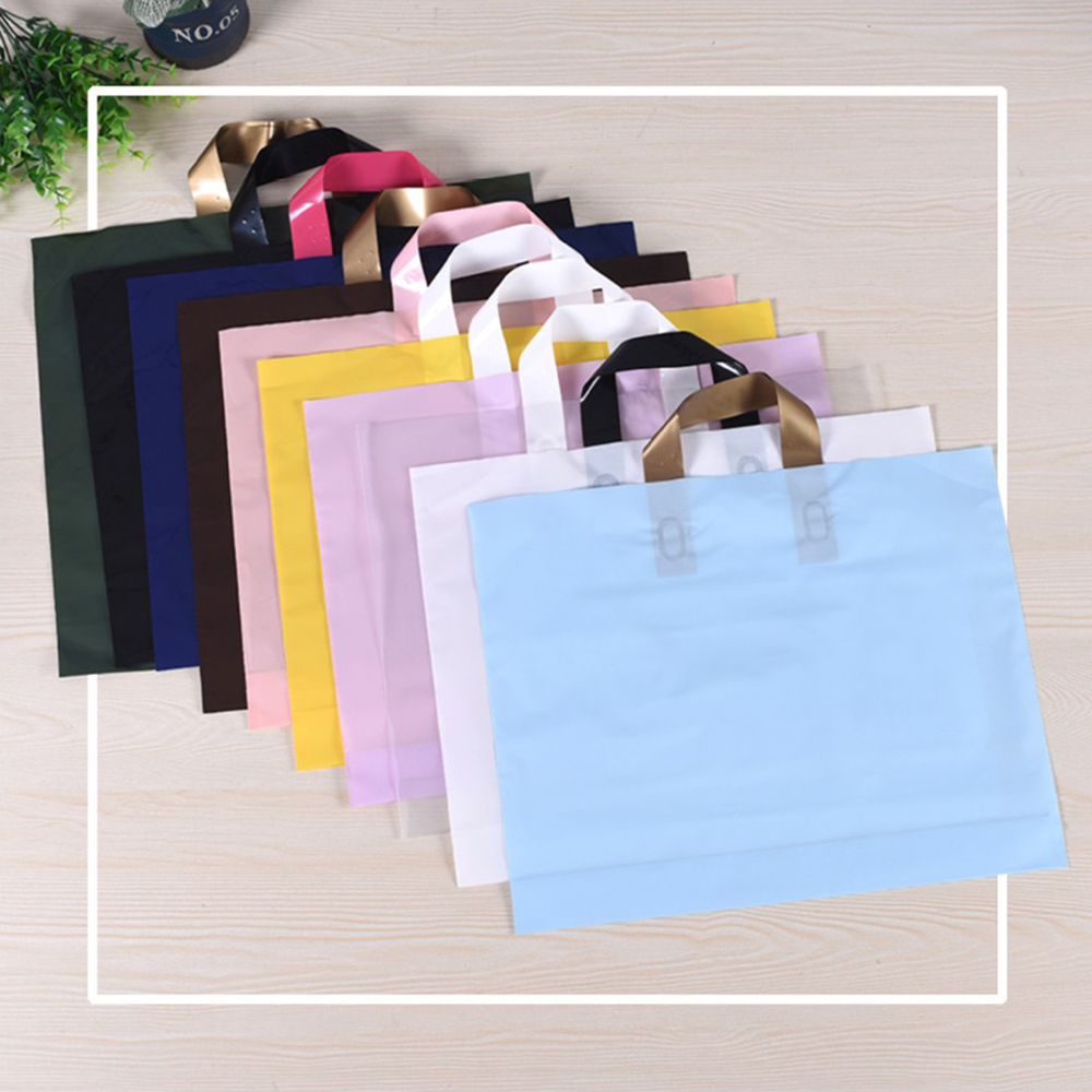 5Pcs Plastic Merchandise Bags With Handles Clothing Shopping Bags Reusable Grocery Bags Boutique Gift Bags Take Out Bags
