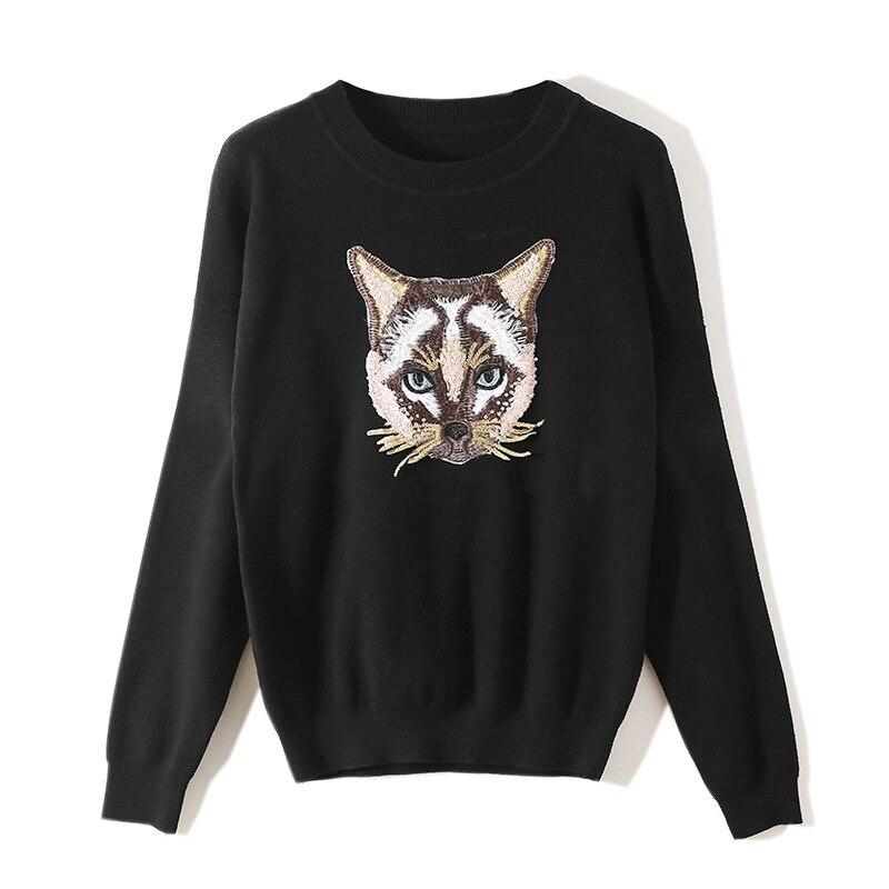 2019 automne hiver mode femmes chandail noir Harajuku ordinateur régulier Animal tricot pailleté chat top pull