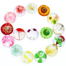 10pcs/lot 2019 New 20mm Fashion Dried Flower Natural Stone Convex Flat Back Resin Cabochons Jewelry Making Accessories Wholesale