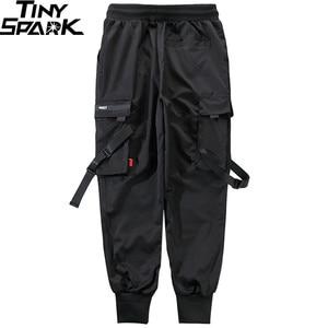 Image 5 - 2020 Hip Hop Cargo spodnie kieszenie mężczyźni Streetwear Harajuku spodnie joggery HipHop Swag Ribbion Harem spodnie moda spodnie typu Casual