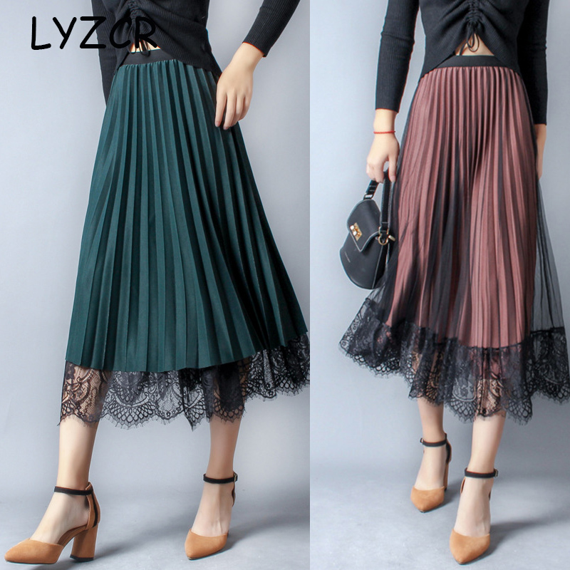Autumn Women's Pleated Skirt Winter Midi Lace High Waisted Skirt Velvet Women Skirts 2019 Pleated High Waist Skirt Jupe Femme