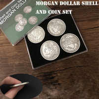 Morgan Dollar Shell and Coin Set (5 Coins + 1 Head Shell + 1 Tail Shell) Magic Tricks Close Up Illusions Gimmick Prop Coin Magia