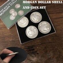Morgan dollar escudo e moeda conjunto (5 moedas + 1 cabeça escudo + 1 escudo da cauda) truques de magia fechar-se ilusões gimmick prop moeda magia