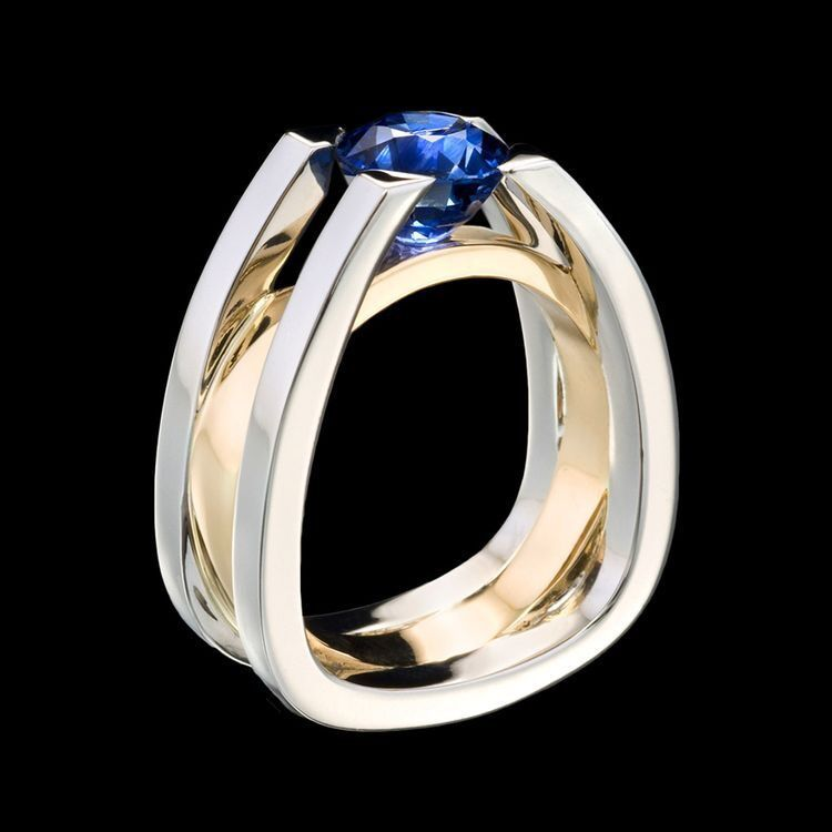 Female Blue Crystal Rings Gold Sliver Two Color Rings Exquisite Crystal Wedding Engagement Fashion Ring