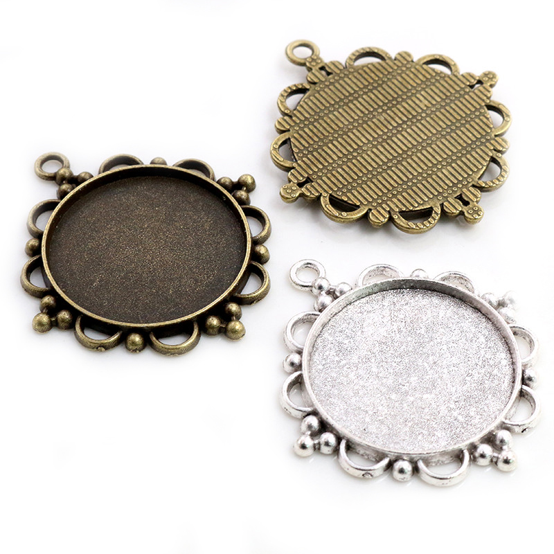 5pcs 30mm Inner Size Antique Bronze And Silver Plated Classic Style Cabochon Base Setting Charms Pendant