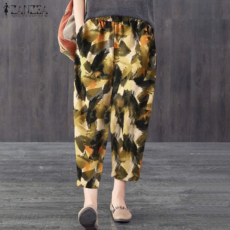 ZANZEA Women Bohemian Floral Print Pants Vintage Elastic Waist Loose Harem Pants Casual Cotton Linen Trousers Plus Size Pantalon