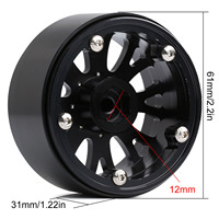 INJORA 4Pcs 2.2 Beadlock CNC Aluminum Alloy Wheel Rim for 1/10 RC Crawler Car Traxxas TRX-6 Axial SCX10 90046 Wraith RR10 3