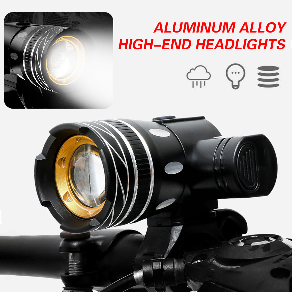T6 Rechargeable Smart Headlights Front Bicycle Light Headlight Night Ride Riding LED Bike Lamp Cycle FlashLight Accessories