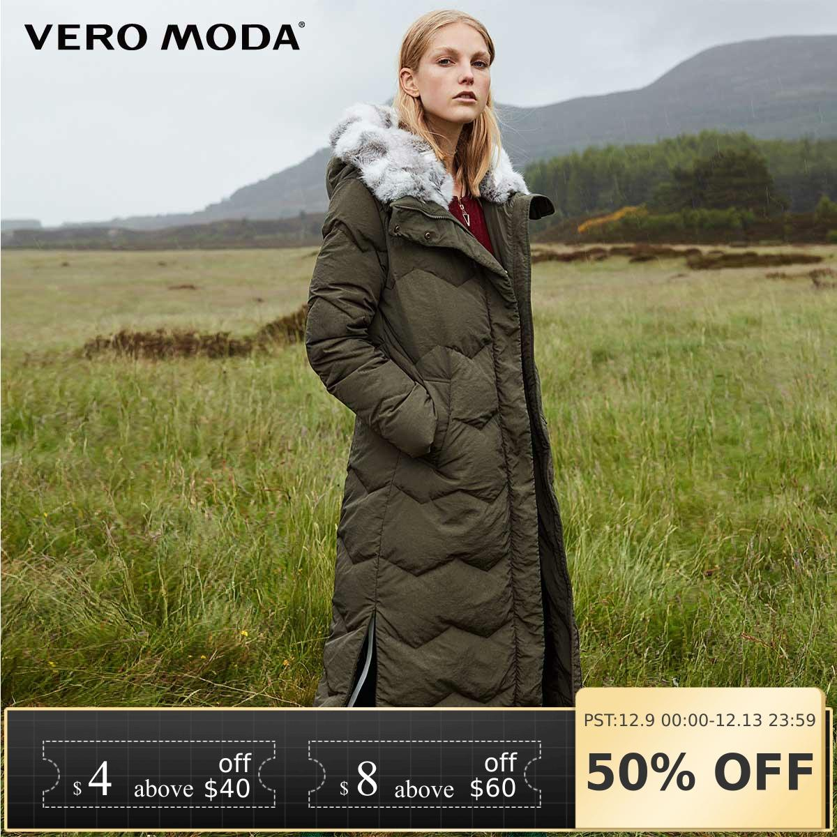 Vero Moda 2019 New Detachable Rabbit Fur Hood Pure Long Down Jacket | 318312507