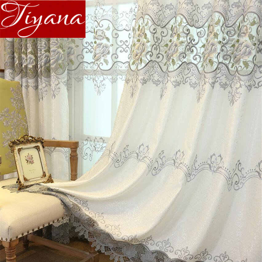 Luxury Grey Curtains Peony Embroidery for Window Bedroom Treatment Sheer Fabric Tulle Curtains for Living Room Drape T&147#30