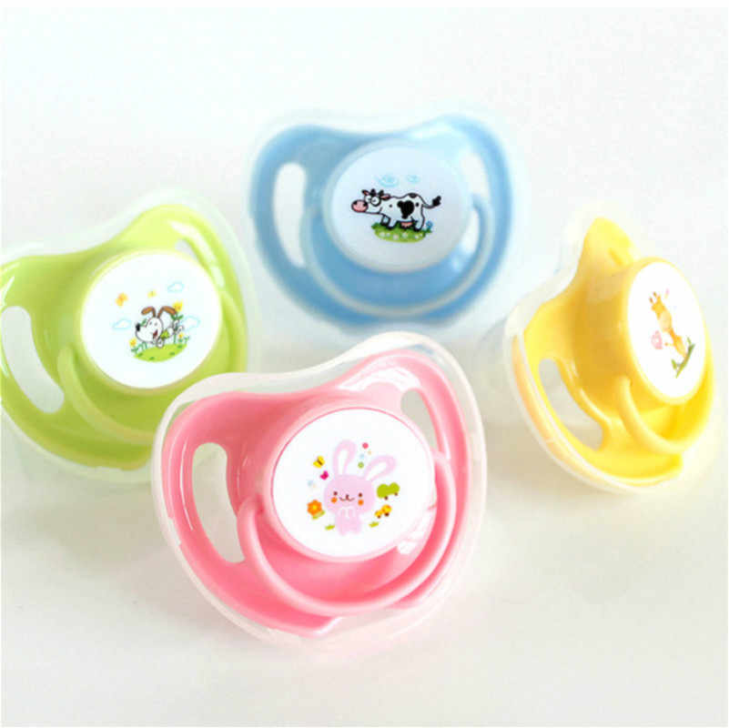 1PCs Appease Pacifiers Baby Cotton Animals Printing Safe Food Grade Silicone Cute Baby Round and Flat Nipples Pacifiers