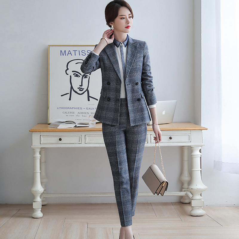 2019 Autumn New Ladies Professional Suit Double-breasted Long-sleeved Slim Autumn Blazer Trendy Trouser Suit Female Two-piece