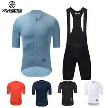 YKYWBIKE-Conjunto de ropa de Ciclismo, Maillot y pantalones cortos con pechera clásica, reflectantes, personalizados