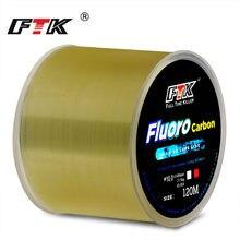 FTK – fil de pêche de 120m, 0.2mm-0.6mm, 7,15 lb-45lb, revêtement en fluorocarbone, processus de traitement, Surface en carbone, molécules de Nylon