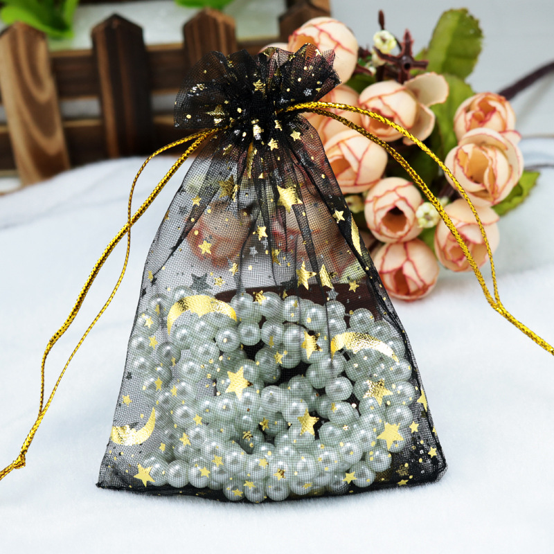 9*12cm 100pcs Gauze Bag Star-moon Black Bags Special Design Organza Package Bronzed Wedding Gift Candy Jewelry Jewelry Package