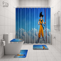 NYAA 4 Pcs DRAGON BALLShower Curtain Pedestal Rug Lid Toilet Cover Mat Bath Mat Set For Bathroom Decor