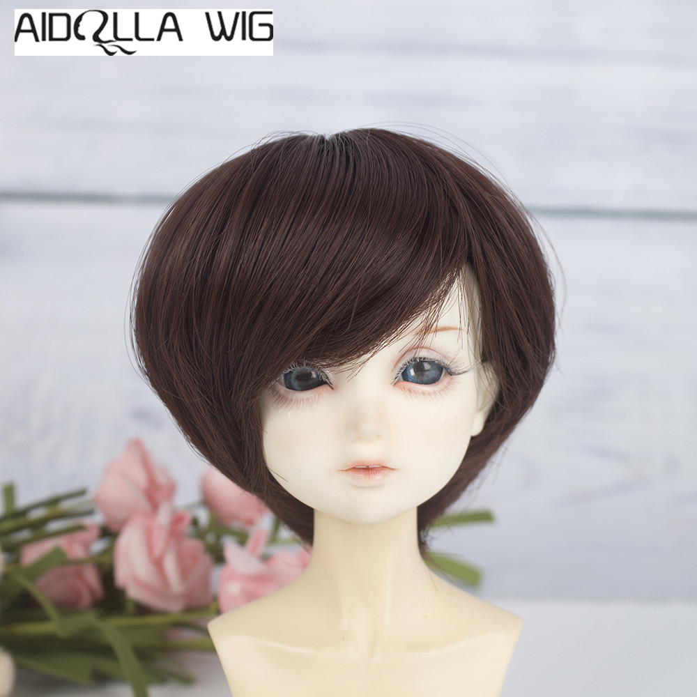 Aidolla 1/3 1/4 1/6 Scale Bjd Wig Hair High-temperature Synthetic Fiber Long Curly Purple brown Ombre Color Wigs for BJD Dolls image