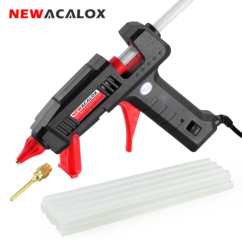 NEWACALOX EU/US 60W 100W DIY Hot Melt Glue Gun Industrial Copper Nozzle Gluegun 10pc 11mm Glue Gun Sticks Arts DIY Repair Tool