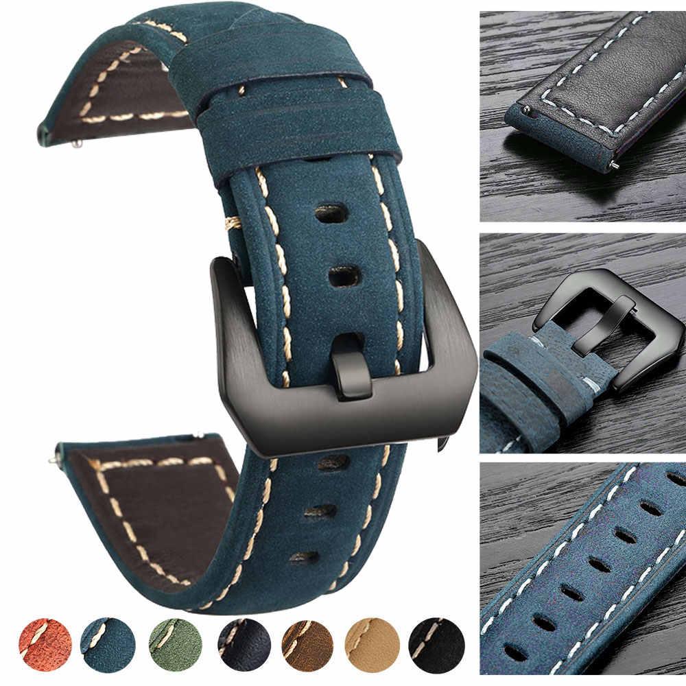 20mm 22mm pulseira de couro para amazfit huawei samsung engrenagem s3 frontier relógio genuíno couro banda substituição correias