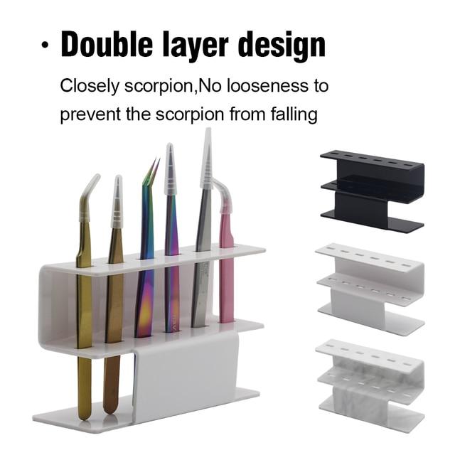 NEWCOME 1 Set Acrylic Eyelash Tweezer Storage Holder 6Pcs Convenient Tweezer Stand Shelf Holder Eyelashes extension Makeup Tool 6