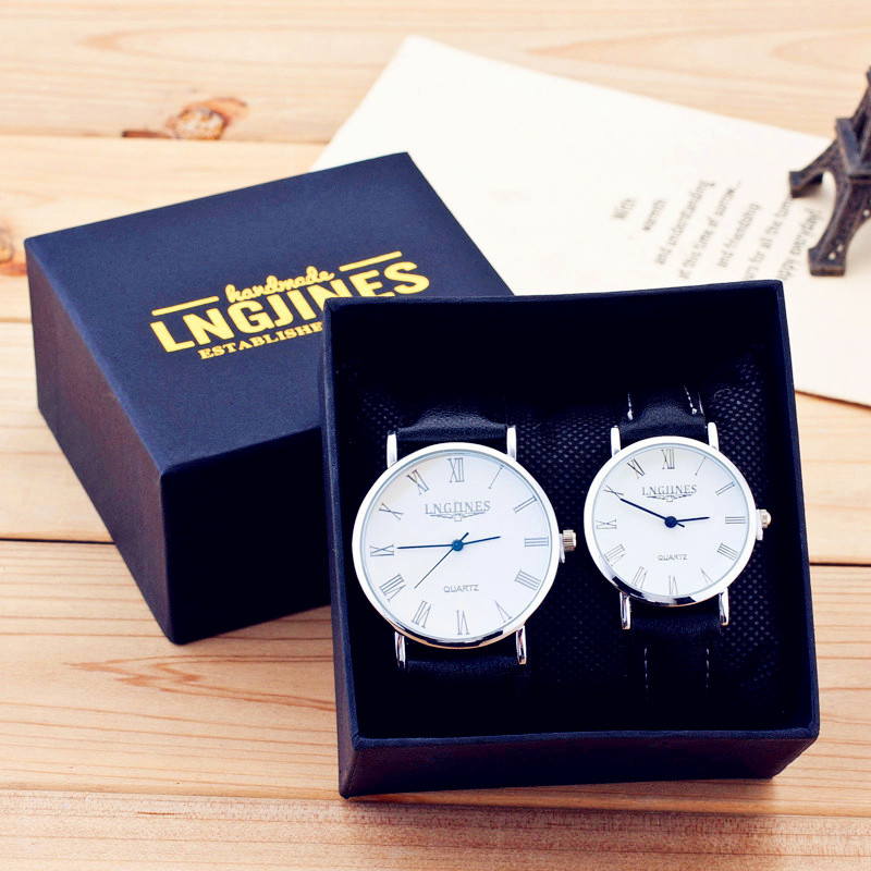 Couple Watch Simple Elegant Unique 12 Roman Numerals Black Waterproof Couple Watch Trending Gifts For Men Pareja Pair Watches