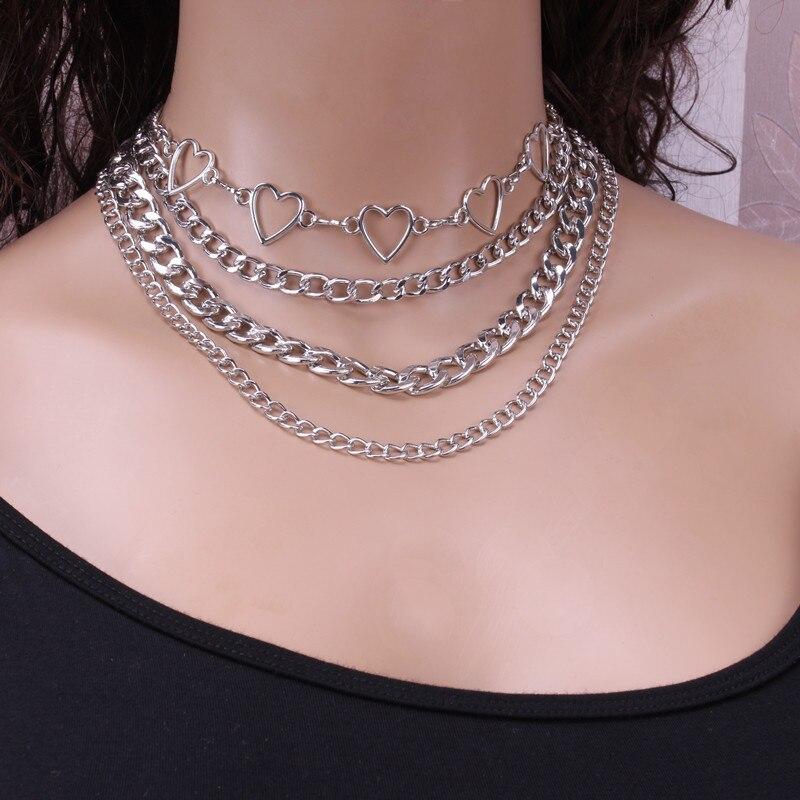 Фианическая многослойная цепочка на шею в стиле панк ожерелье с подвеской женское колье металлические цепи готические ювелирные изделия г...