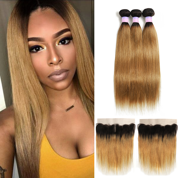 Brazilian Straight Hair Bundles With Frontal 1B 27 30 Ombre Human Hair Weave Bundles With Closure Ear To Ear Non-Remy KEMY HAIR