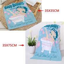 New arrival Custom Betty Boop Printed Face Towel Microfiber Fabric Square rectangle Towels Size 35x35cm 35x75cm(China)
